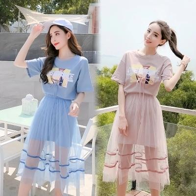中长裙女夏2019新款韩版印花T恤ins超火网纱连衣裙两件套女套装裙