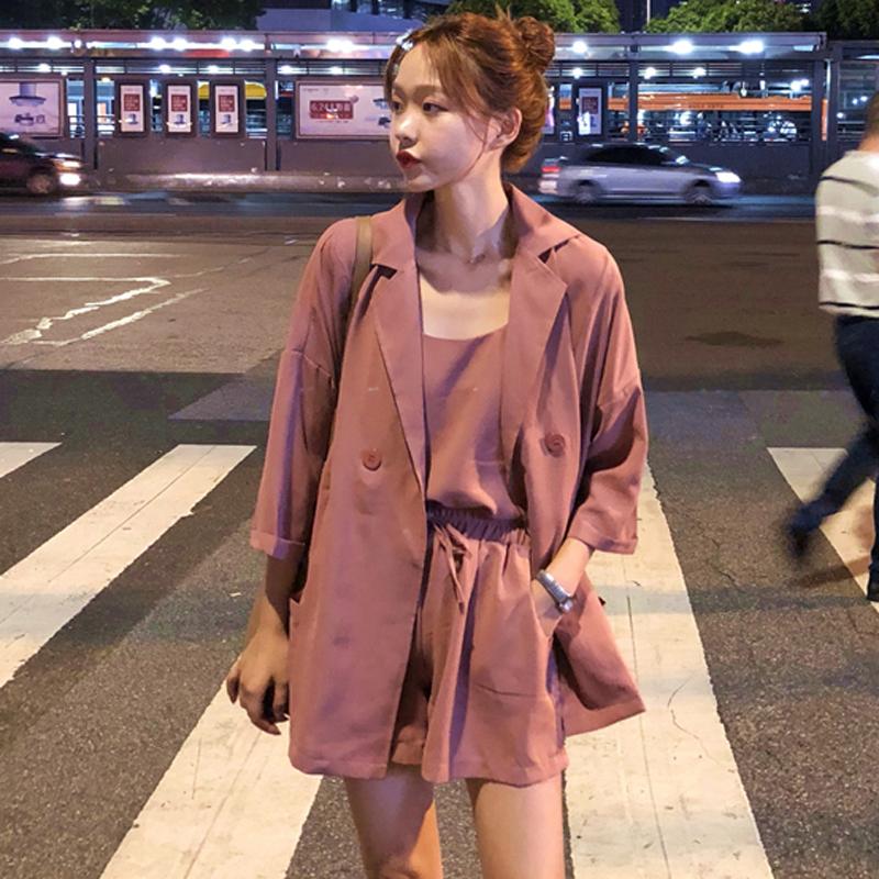 早秋新款套装韩版小吊带+西装外套+高腰短裤纯色时尚三件套女装潮