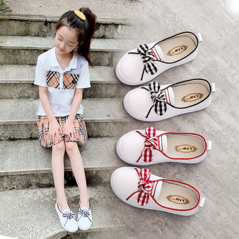 童鞋女童儿童小白运动鞋子真皮2019新款时尚夏季秋季休闲白色春秋