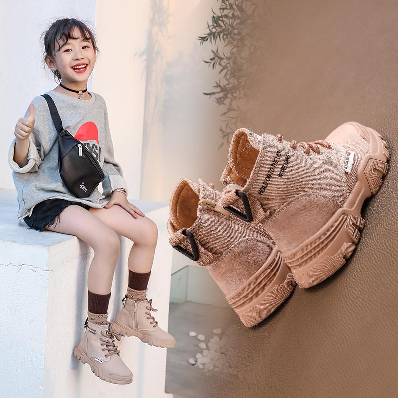 女童鞋儿童马丁靴子2019年秋季新款秋冬款男童小短靴加绒英伦风潮