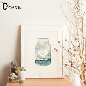 Love on cloth paper Wishing bottle Custom decorative painting Original design Home accessories Small fresh hanging painting Creative mural