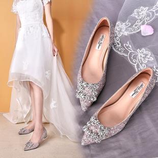 婚鞋女平底2020年新款新娘结婚鞋低跟孕妇伴娘亮片水晶公主婚纱鞋图片