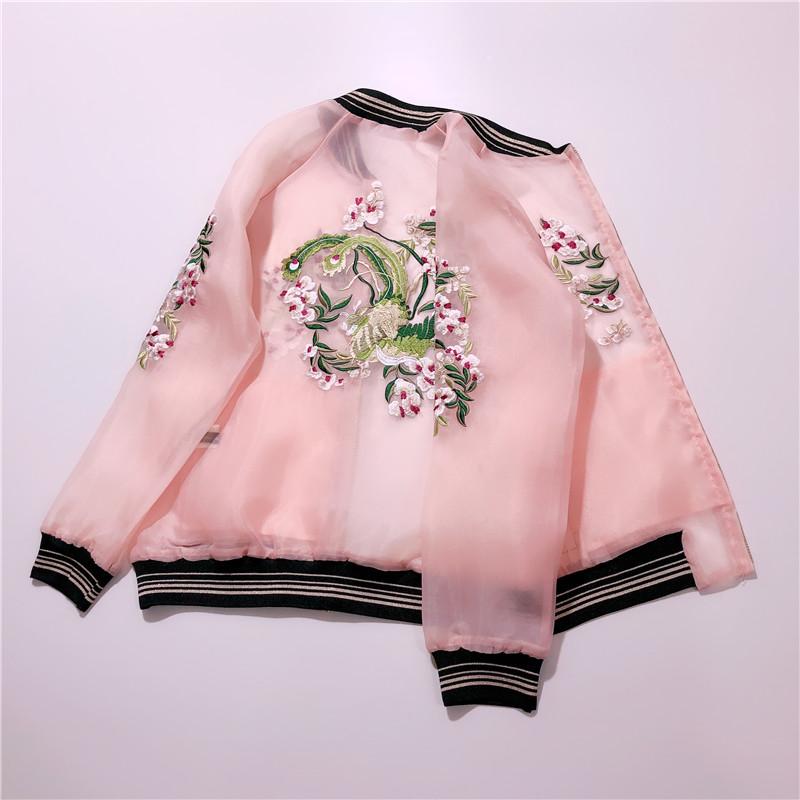 欧根纱花卉刺绣夹克夏季薄款防晒衣女短款外套学生韩版宽松棒球服