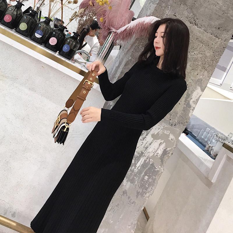 Cynee 2017秋冬新款弹力贴身显瘦长款针织打底连衣裙修身过膝长裙