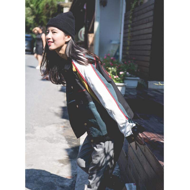秋季美式街头OLD SCHOOL嘻哈风牙买加配色刺绣夹克中性女装外套潮