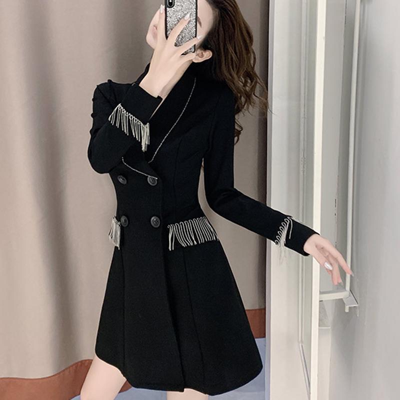 西装连衣裙2020早秋新款韩版修身小众设计感英伦风西服外套女上衣-依思美2店-
