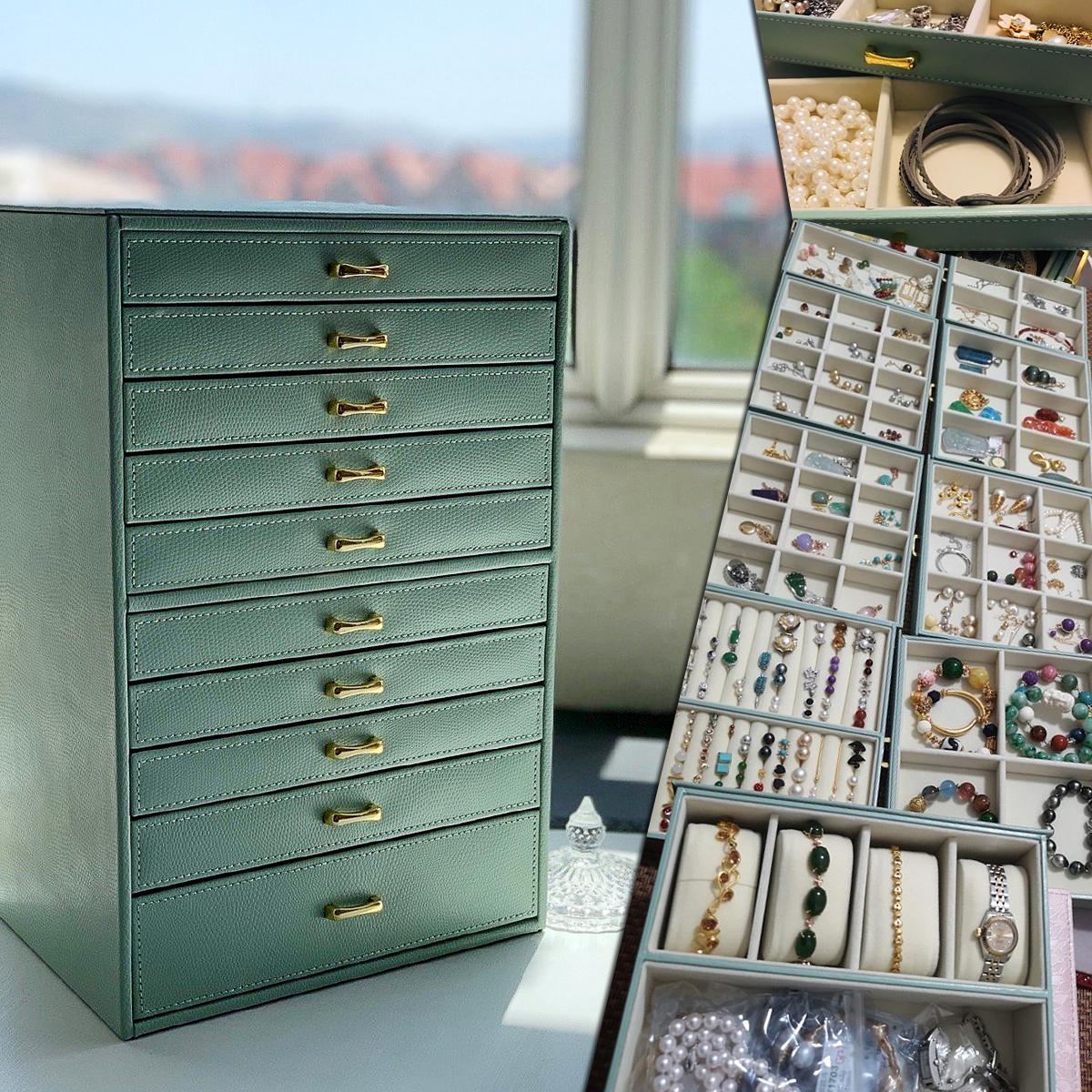 首饰盒欧式大容量公主饰品收纳盒韩国珠宝首饰箱木质真皮皮革手表