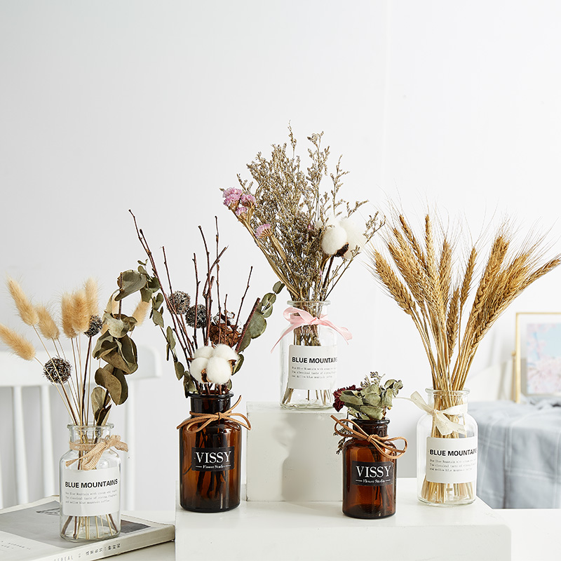 北欧卧室小麦干花麦穗花束装饰品摆件创意真棉花带花瓶套装小摆放