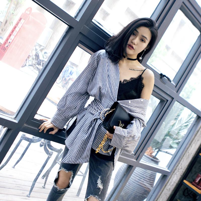 不规则条纹衬衫女中长款长袖衬衣复古港味chic上衣百搭2017秋韩范