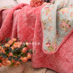 冬季毛绒床品法兰绒全棉绗缝被床盖单件春秋空调薄被加厚夹棉床单