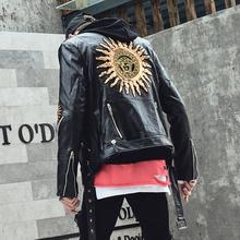 秋冬夹克男演出服韩款修身mb9车皮衣刺to街帅气青少年外套