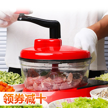 手动绞ke0机家用碎ks搅馅器多功能厨房蒜蓉神器料理机绞菜机