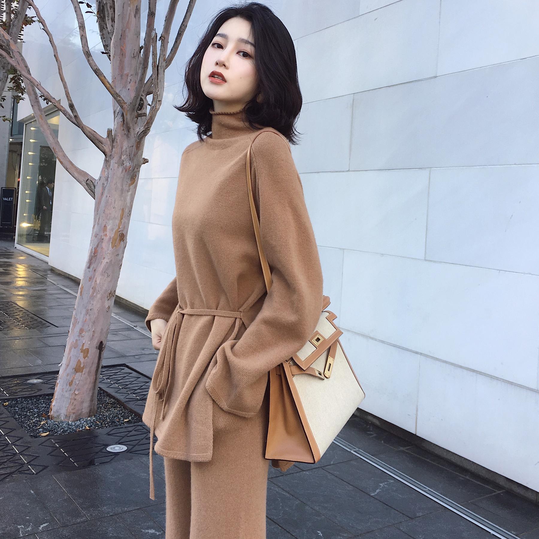◆ANNA◆2017冬装新款羊绒羊毛半高领针织衫阔腿裤毛衣两件套装女