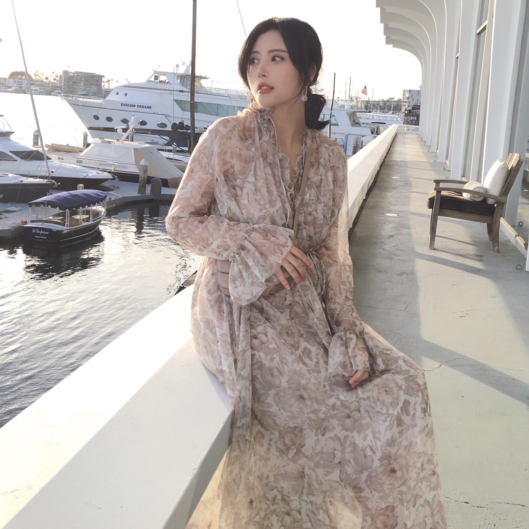 ◆ANNA◆2018春夏新款印花长袖连衣裙碎花荷叶边超长款裙子女长裙