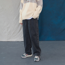 蒙马特先生 韩款潮流街头烟灰色显瘦cm14仔裤 nk搭休闲长裤
