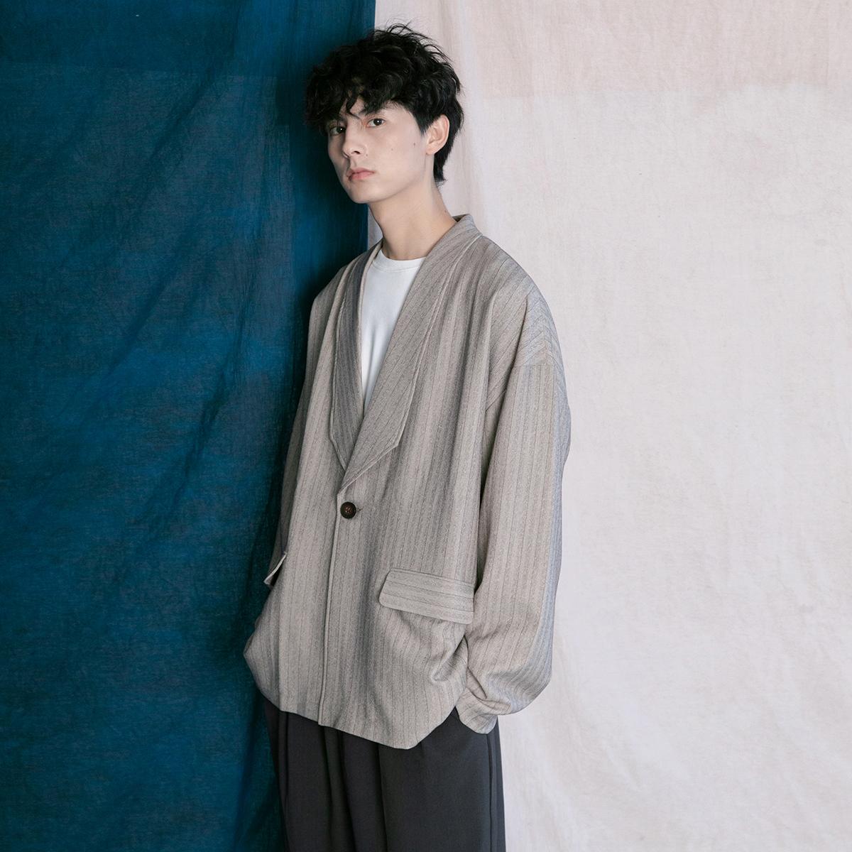 蒙马特先生 韩版西装外套男 秋季慵懒风潮人BF男女条纹百搭上衣
