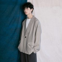 蒙马特先生 韩款西装外套男zq10秋季慵xiF男女条纹百搭上衣