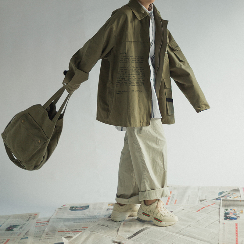 日系复古军旅工装风夹克宽松BF阿美咔叽多口袋秋季外套潮男女风衣