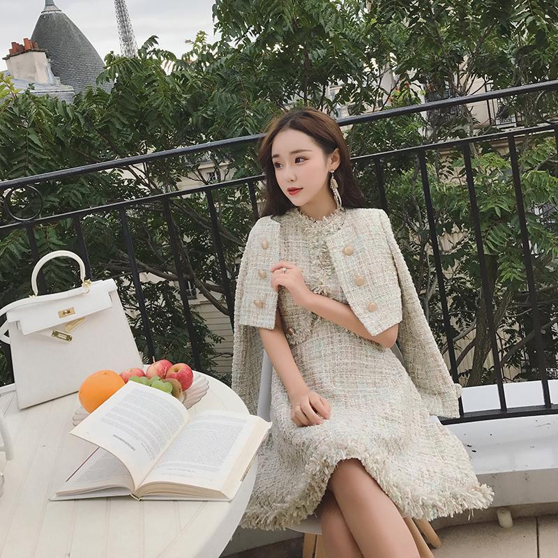 2017秋冬装新款韩版显瘦连衣裙套装女名媛气质时尚毛呢两件套潮