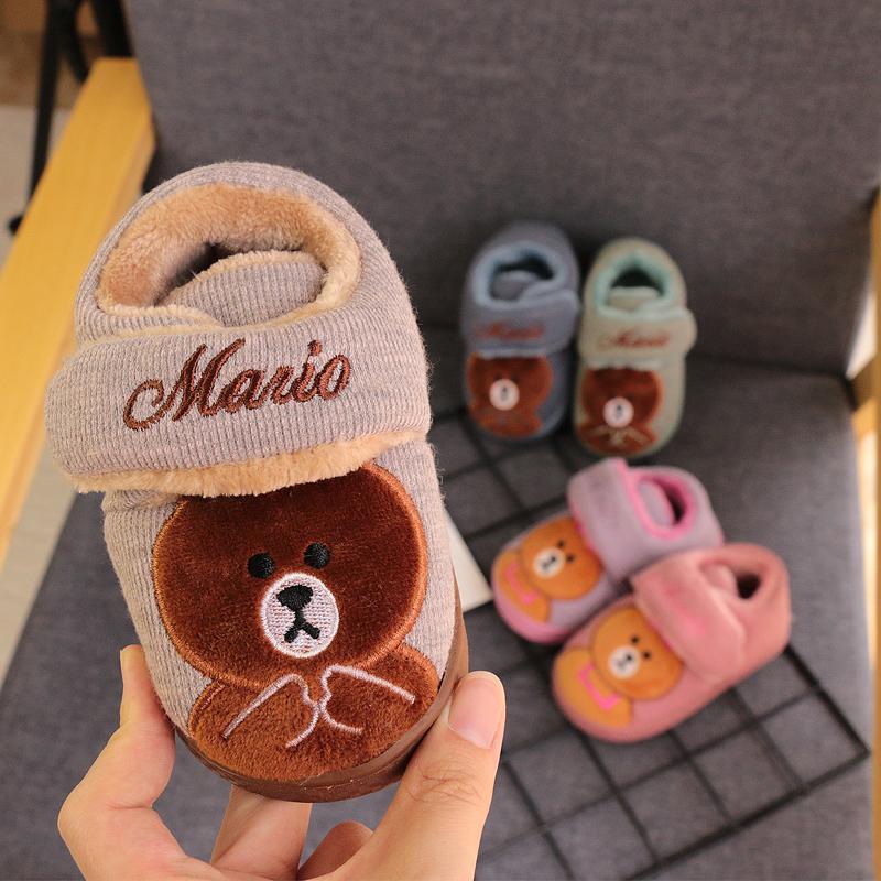 宝宝拖鞋冬女1-3岁防滑婴幼儿可爱棉拖鞋儿童家居男室内包跟棉鞋