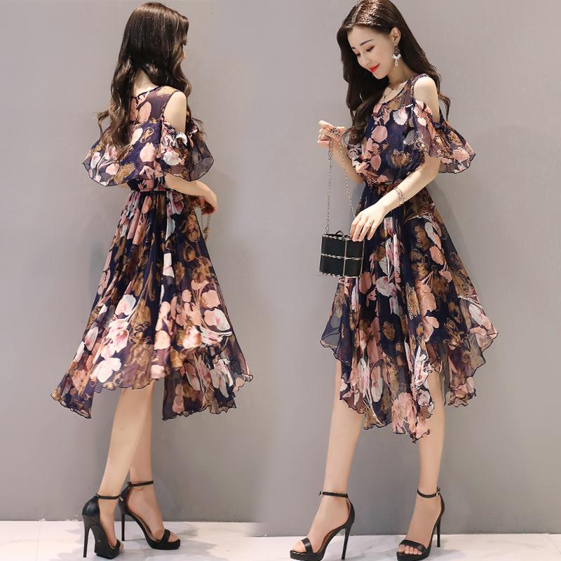 女装2017新款夏装韩版露肩雪纺连衣裙中长款修身不规则碎花裙子女