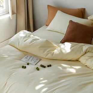 仔普北欧 高克重素色长绒全棉床上四件套针织纯棉1.51.8床笠款