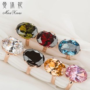 曼休妮超大锆石活口戒指女 欧美夸张气质日韩时尚个性红宝石首饰图片