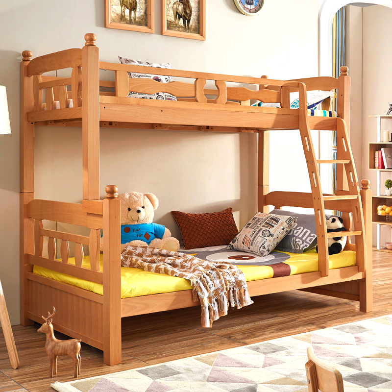 上下床双层床成人多功能组合现代简约榉木高低床儿童床实木子母床