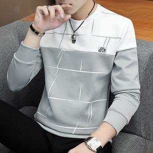 秋季男士长袖t恤韩版修身圆领卫