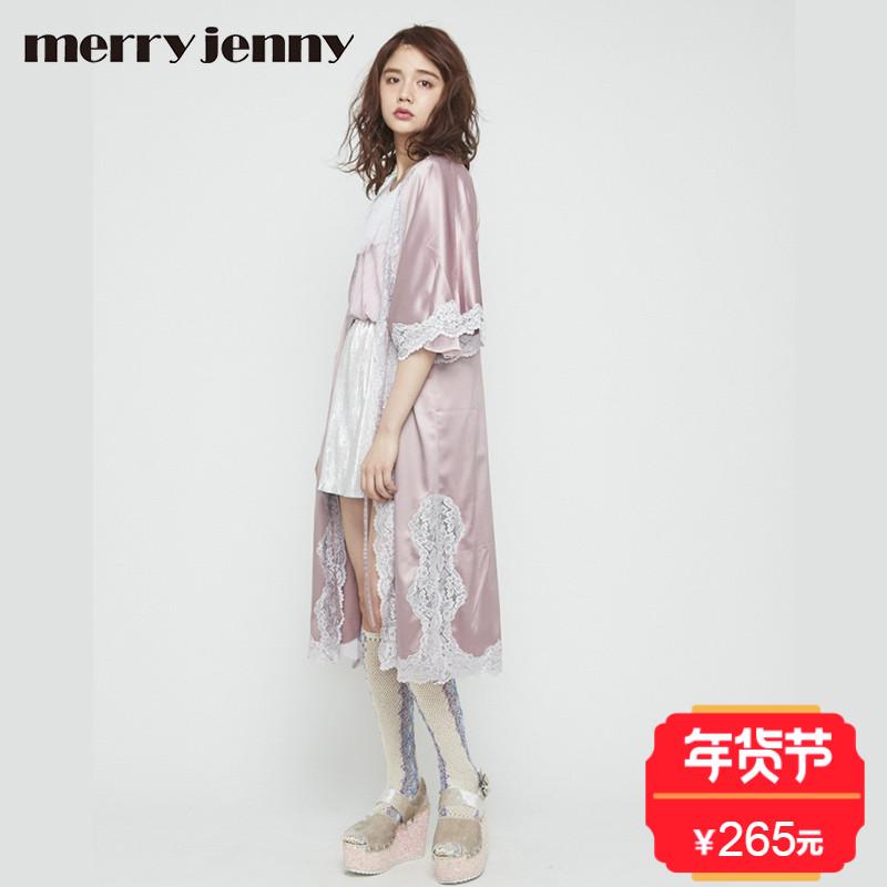 merry jenny17新款  缎面复古过膝长款开衫蕾丝点缀 日本官网直邮