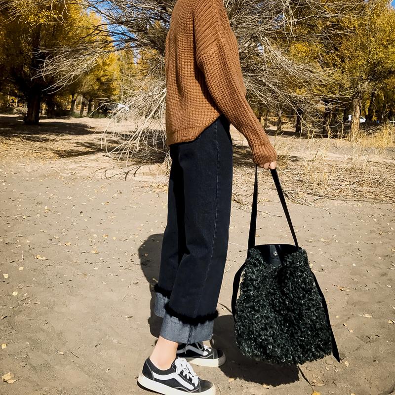 SHERRY2017冬季新款韩版高腰显瘦翻边女式百搭毛毛边牛仔裤阔腿裤