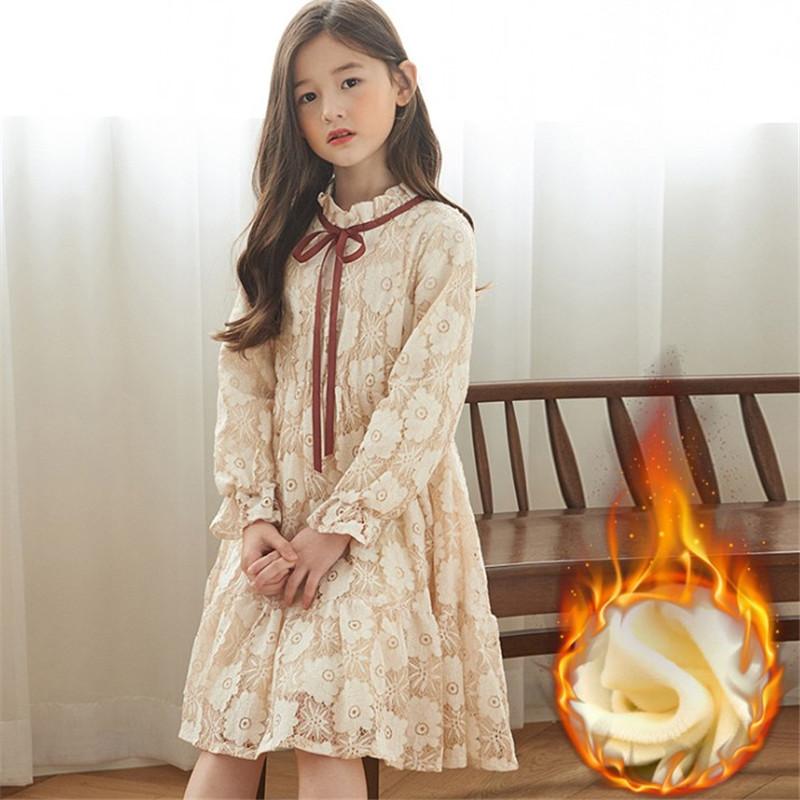 女童蕾丝公主裙加绒秋冬季韩版中大童生日洋气儿童红色礼服连衣裙