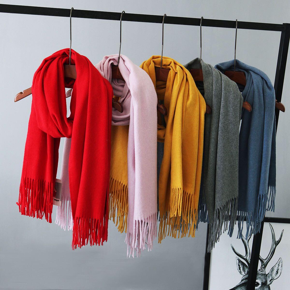 羊毛加长加厚实保暖流苏围巾女冬季披肩两用韩版学生纯色百搭围脖