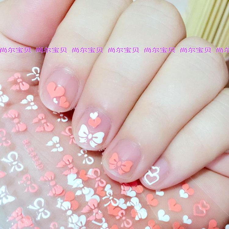 韩国儿童指甲贴蝴蝶结爱心指甲贴纸贴花片小孩环保防水无毒指甲贴