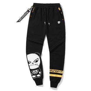 秋季男装潮流熊猫字母印花大码休闲裤长裤嘻哈风收口小脚运动卫裤