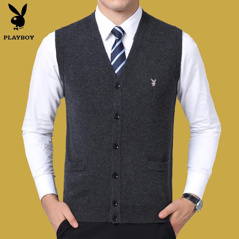 秋冬中老年100%纯羊毛开衫背心男士V领针织衫坎肩中年马甲爸爸装