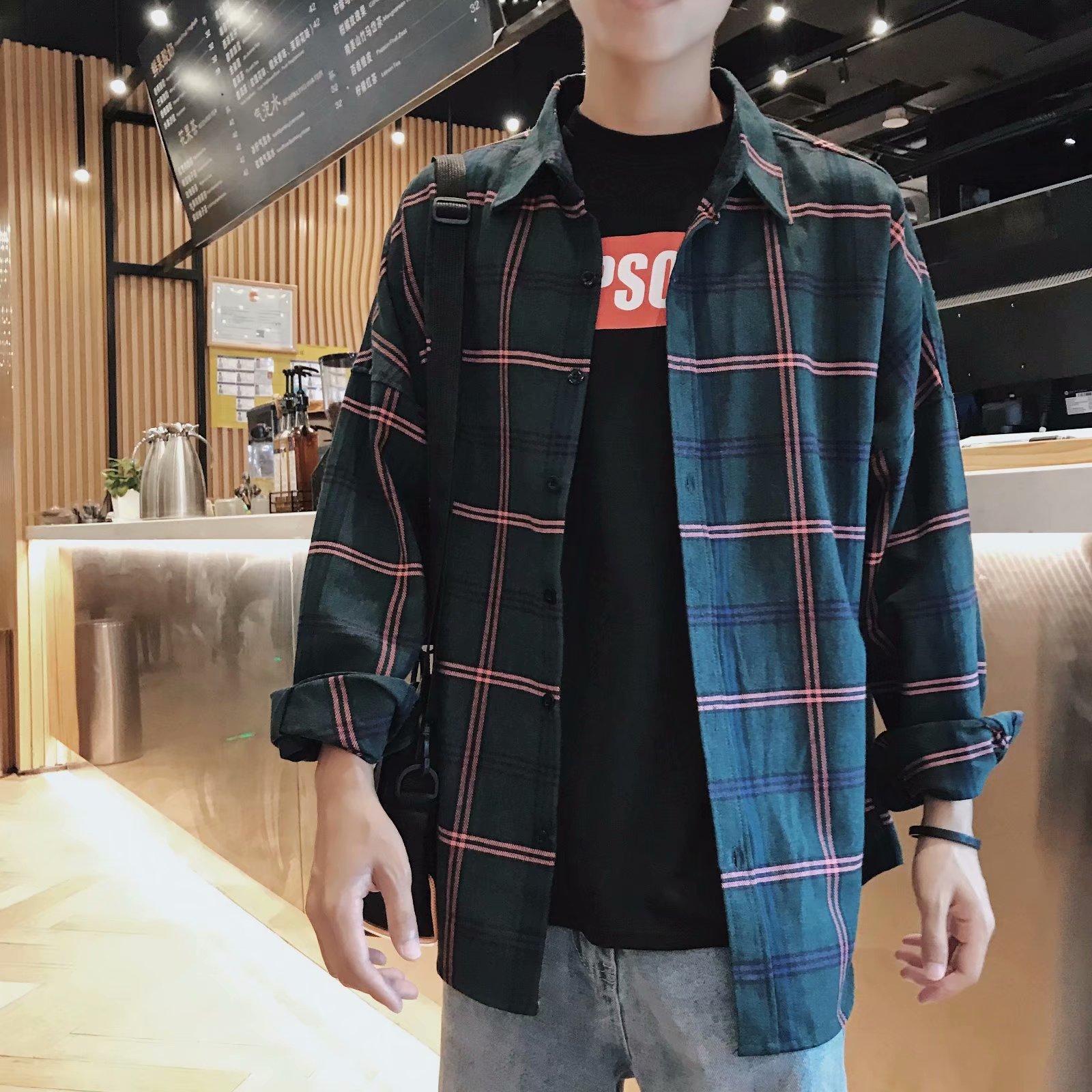 秋季港风男士格子宽松休闲长袖bf风衬衣韩版潮流学生百搭衬衫外套
