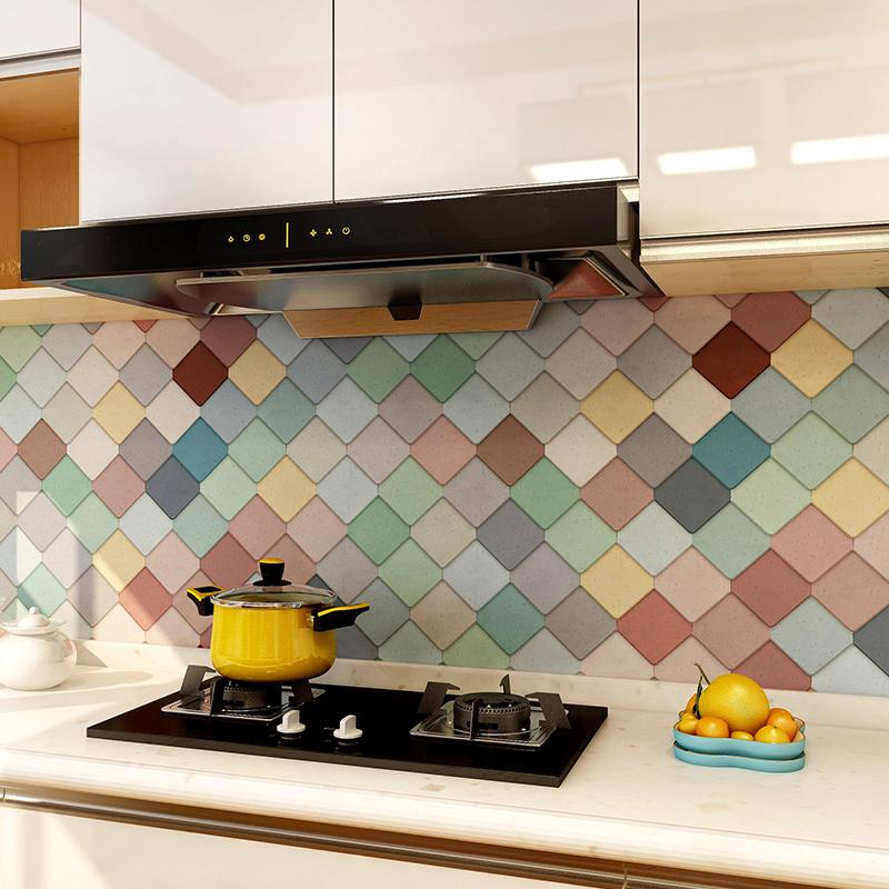 彩色仿砖纹厨房墙面贴纸防水防油自粘卫生间瓷砖翻新装饰墙贴画