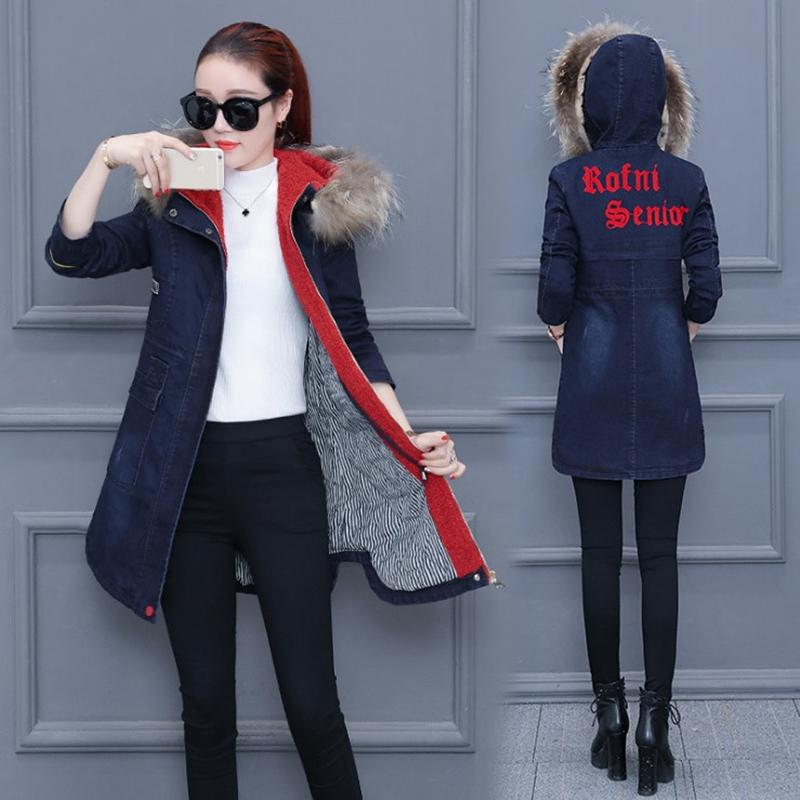 中长款风衣女2017冬季新款韩版收腰显瘦加绒加厚连帽牛仔棉衣外套