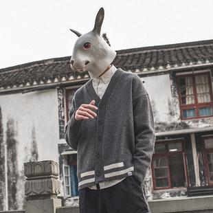 兔先森男士 时尚条纹撞色线衣春