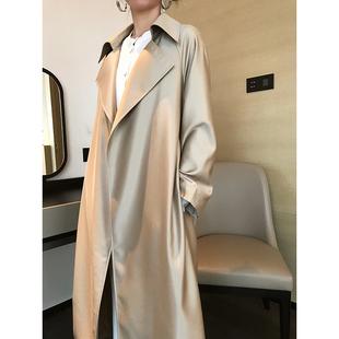高端极简风衣2020春季新款大码女装宽松长款翻领简约风衣长袖外套