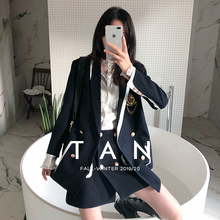 茶色TAN (小)西装职业套le9女202ft式英伦学院风气质减龄两件套