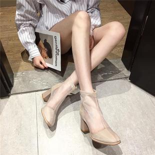 网纱镂空马丁靴子凉靴女凉鞋2020年新款夏季百搭法式粗跟高跟鞋黑