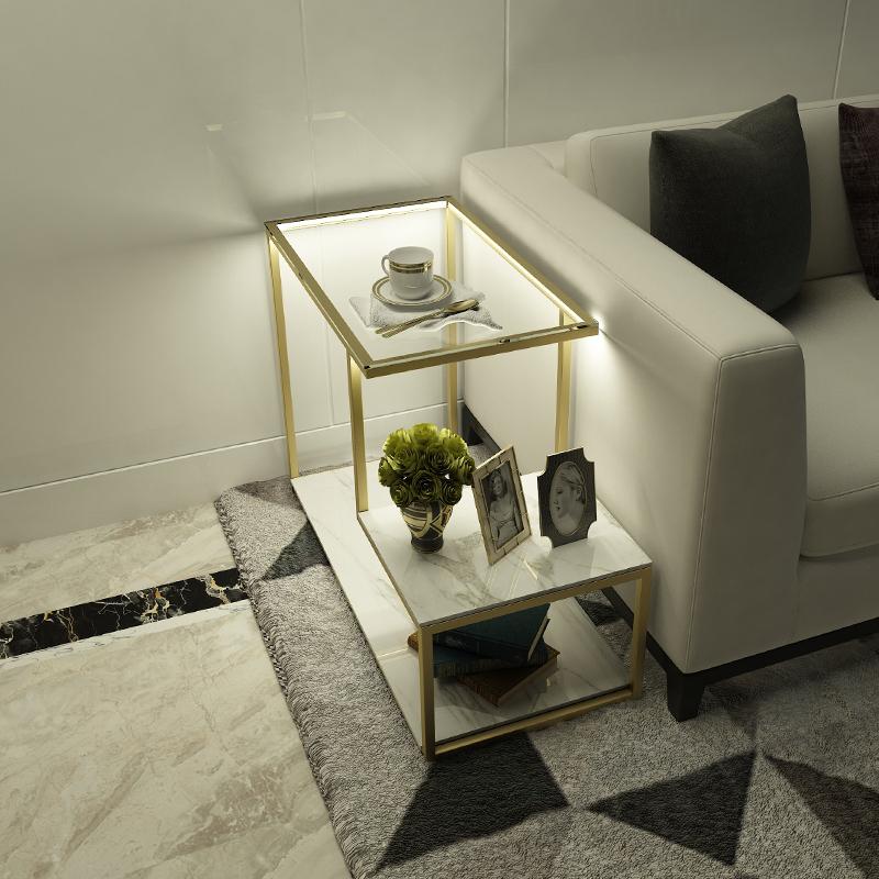 沙发边柜边桌大理石床头柜北欧现代简约小茶边几侧边柜轻奢角几柜