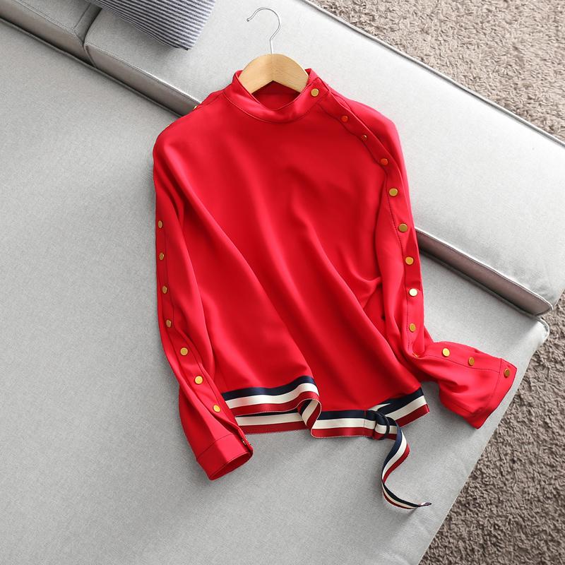 贞品坊2018春装新款个性立领蝙蝠袖扣子系带衬衫宽松显瘦女上衣#