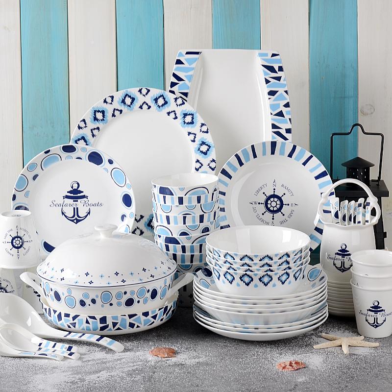 唐山骨瓷餐具碗碟套装 北欧地中海风格 家用歺具陶瓷碗盘送人礼盒-后海椰林专卖店-12月