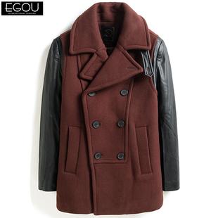 EGOU男装时尚潮牌男士呢大衣韩版修身毛呢冬季中长款羊毛呢子外套