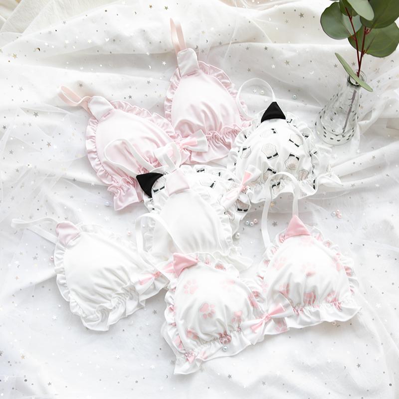 日系软妹文胸套装萝莉可爱猫咪猫爪胸罩牛奶丝无钢圈三角杯内衣女