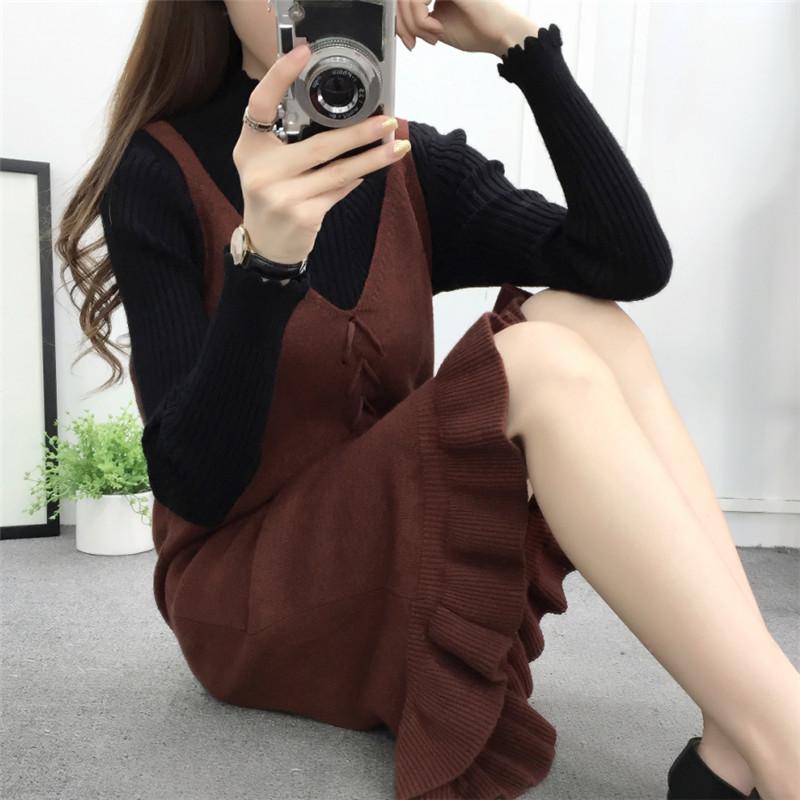 长款毛衣裙V领吊带背心鱼尾裙