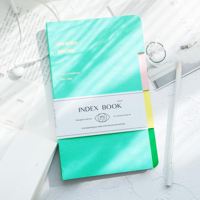 kinbor索引本A5计划本点状横线内页记事本学生课堂笔记本办公文具